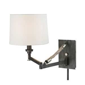 Natural Rope Silvered Graphite One-Light Swing Arm Sconce