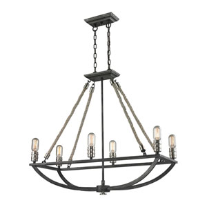 Natural Rope Silvered Graphite Six-Light Chandelier