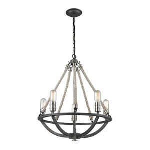 Natural Rope Silvered Graphite Five-Light Chandelier