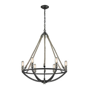 Natural Rope Silvered Graphite Six-Light Round Chandelier