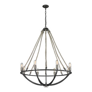 Natural Rope Silvered Graphite Eight-Light Chandelier