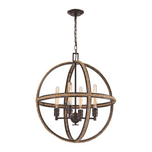 Natural Rope Oil Rubbed Bronze 24-Inch Four-Light Chandelier