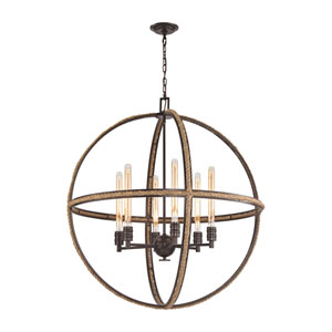 Natural Rope Oil Rubbed Bronze 34-Inch Six-Light Chandelier