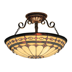Diamond Ring Burnished Copper Three Light Semi-Flush Mount Fixture