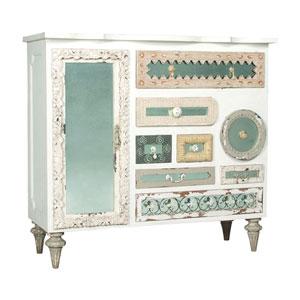 Handpainted Mosaic White Mirror Chest