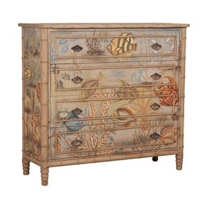 Handpainted Island Mahogany Cottage Chest