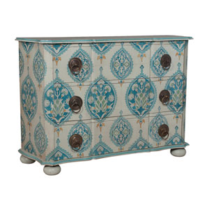 Handpainted Duchess Blue Floral Mahogany Chest