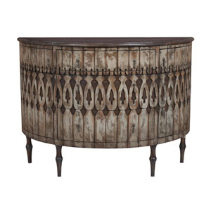Handpainted Artifacts Taupe Demilune Sideboard