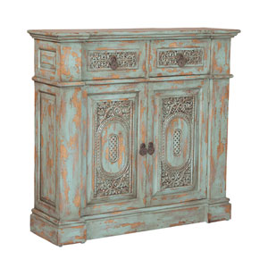 Handpainted Vintage Green Hall Chest
