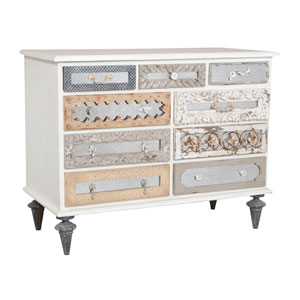 Handpainted Mosaic White Wash Mirror Dresser