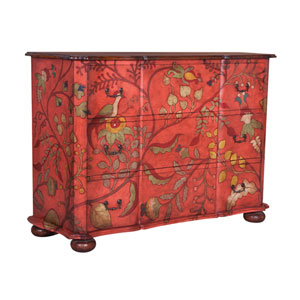 Handpainted Duchess Floral Mahogany Chest