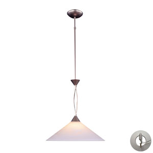 Elysburg One Light Pendant In Satin Nickel And Tea Swirl Glass Includes w/ An Adapter Kit
