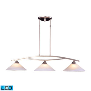Elysburg Three Light LED Island Light In Satin Nickel And Tea Swirl Glass