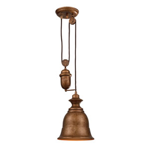 Farmhouse Bellwether Copper Pulley Adjustable Height One Light Mini Pendant