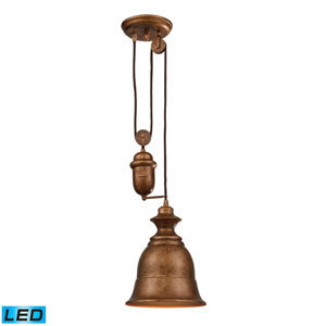 Farmhouse Bellwether Pulley Adjustable Height Copper LED One Light Mini Pendant