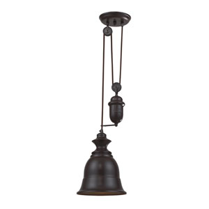 Farmhouse Oiled Bronze Pulley Adjustable Height One Light Mini Pendant