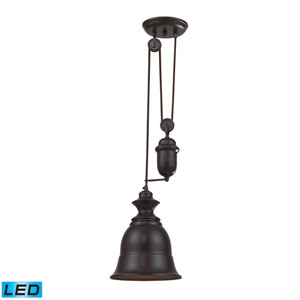 Farmhouse Oiled Bronze Pulley Adjustable Height LED One Light Mini Pendant