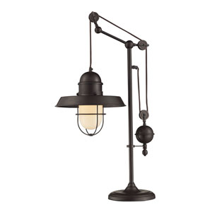 Farmhouse Oiled Bronze Pulley Adjustable Height One Light Table Lamp