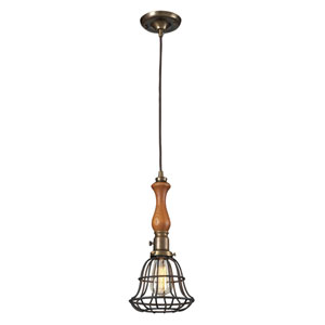 Spun Wood Vintage Brass and Vintage Rust 16-Inch One Light Mini Pendant
