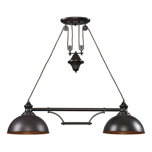 Farmhouse Oiled Bronze Two-Light Pendant