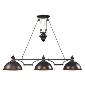 Farmhouse Oiled Bronze Pulley Adjustable Height Three Light Billiard and Island Light