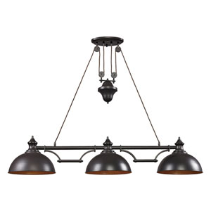 Farmhouse Oiled Bronze Pulley Adjustable Height LED Three Light Billiard and Island Light