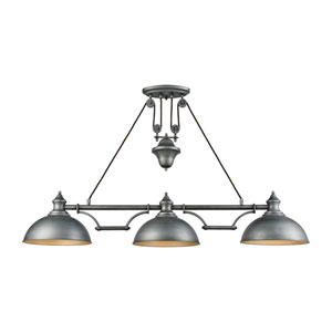 Farmhouse Weathered Zinc Three-Light Island Pendant
