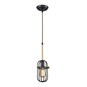 Binghamton Oil Rubbed Bronze and Satin Brass One-Light Mini Pendant