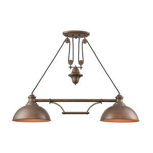 Farmhouse Tarnished Brass Two-Light Island Pendant