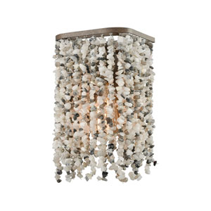 Agate Stones Weathered Bronze 7-Inch One-Light Vanity with Gray Agate Stones
