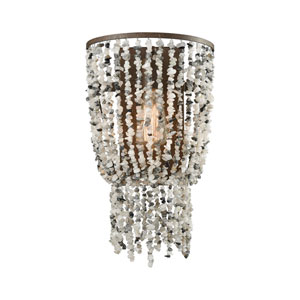 Agate Stones Weathered Bronze 10-Inch One-Light Wall Sconce with Gray Agate Stones
