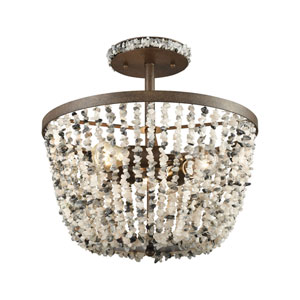 Agate Stones Weathered Bronze 16-Inch Three-Light Semi-Flush Mount with Gray Agate Stone