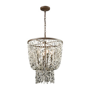 Agate Stones Weathered Bronze 17-Inch Four-Light Chandelier