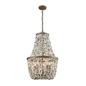 Agate Stones Weathered Bronze 18-Inch Five-Light Chandelier