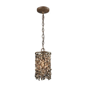 Agate Stones Weathered Bronze 6-Inch One-Light Mini Pendant with Dark Bronze Stone