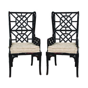 Handpainted Black Bamboo Wing Back Chairs - Set of Two