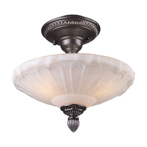 Restoration Flushes Dark Silver Three Light Semi-Flush Mount Fixture