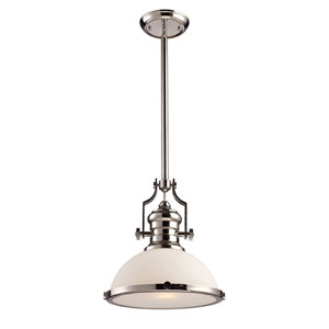 Chadwick Polished Nickel One-Light Pendant with Frosted Glass