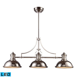 Chadwick Polished Nickel 47-Inch LED Three Light Billiard and Island