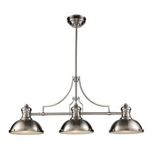 Chadwick Satin Nickel 21-Inch Three Light Billiard and Island Light