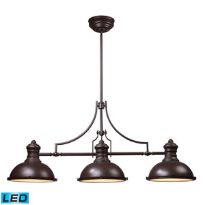Chadwick Oiled Bronze 21-Inch LED Three Light Billiard and Island Light