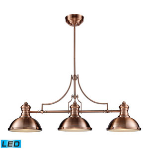 Chadwick Antique Copper 21-Inch LED Three Light Billiard and Island