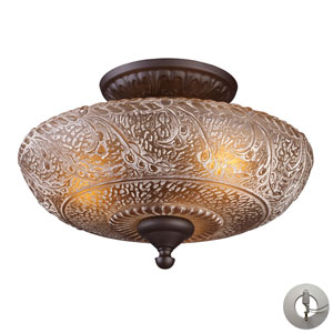 Norwich Oiled Bronze Three Light Semi-Flush Mount Fixture
