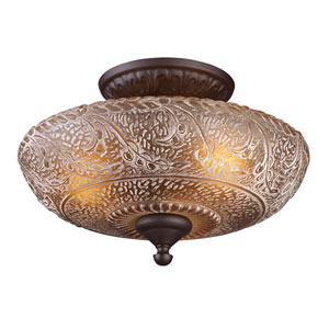 Norwich Oiled Bronze 9.5-Inch Three Light Semi-Flush Mount Fixture