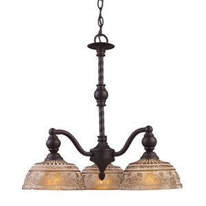 Norwich Oiled Bronze Three Light Chandelier