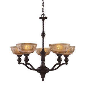 Norwich Oiled Bronze Five Light Chandelier