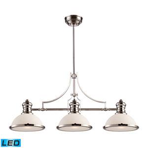 Chadwick Polished Nickel LED Three Light Billiard and Island Light