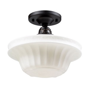 Quinton Parlor Oiled Bronze 11-Inch One Light Semi-Flush Mount Fixture
