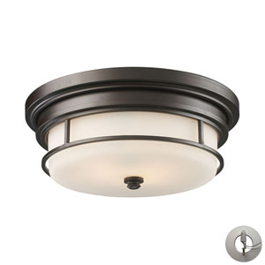 Newfield Oiled Bronze Two-Light Flush Mount