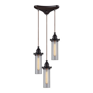 Fulton Oil Rubbed Bronze Three-Light Pendant with Clear Glass